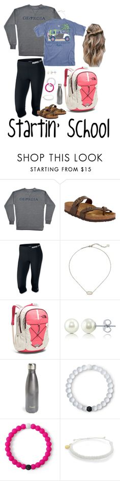 """Startin' School"" by mirandamf on Polyvore featuring Birkenstock, NIKE, Kendra Scott, The North Face, BERRICLE, S'well, Lokai and Pura Vida"