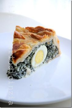 Torta pasqualina, with quail eggs