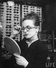 wooden framed glasses, 1945, photo by Nina Leen