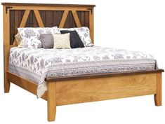 Solid wood Oak and Cherry bedframe, Amish handcrafted bedroom furniture, two-toned finish, rustic bed, five sizes available