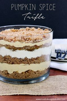 Make any Fall gathering extra special with this easy Pumpkin Spice Trifle! It's sure to be a hit! A spice cake mix crumbled and layered between a creamy mixture of cream cheese, cool whip, canned pure pumpkin, pumpkin pie spice, and sugar!