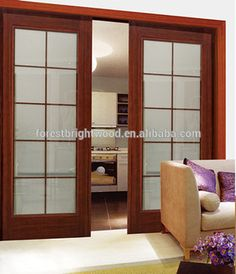 Interior Wooden Glass Double Sliding Door With Window Glass, Kitchen Room Sliding Door