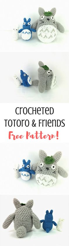 Recreate Totoro, chu and Chibi for your own little adventures! Get the free totoro crochet pattern here!