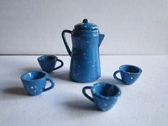 Vintage Miniature Coffee Pot and Mugs Kitchen Doll House Blue