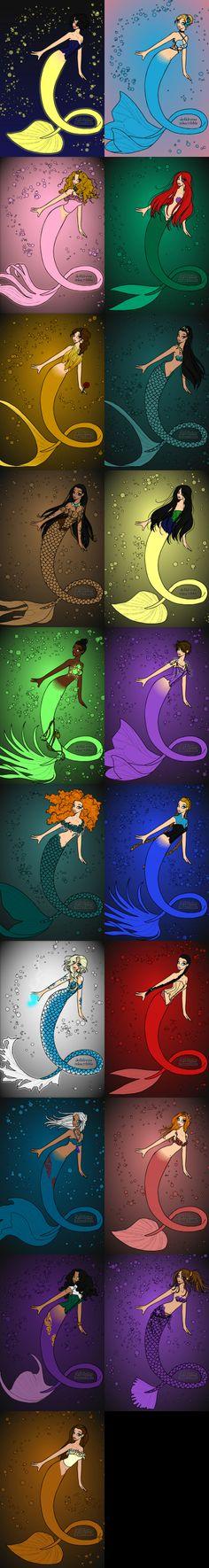 All Disney Princesses as Mermaids | Disney Princess As Mermaids: Redone by Ka1236
