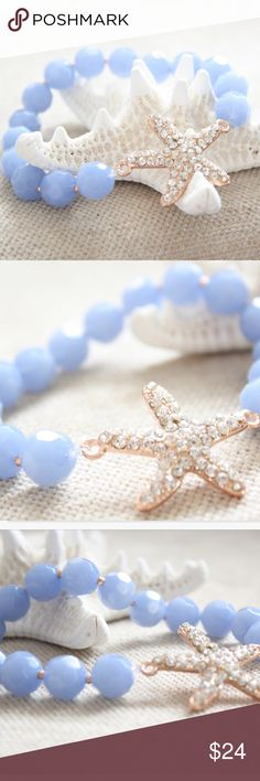 Rose Gold & Periwinkle Crystal Starfish Bracelet Brand new, never worn, Crystal starfish bracelet made of faceted glass beads in periwinkle blue. Between each bead is a rose gold spacer bead. At the center is a large starfish in rose gold covered in sparking crystals. Handmade by Posh Adornments. Bracelet stretches to fit any wrist. Posh Adornments Jewelry Bracelets