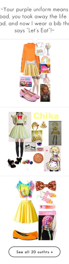 """""""~Your purple uniform means bad, you took away the life I had, and now I wear a bib that says """"Let's Eat""""!~"""" by nerdbucket ❤ liked on Polyvore featuring fnaf, Rad+Refined, Vetements, Freddy, Jeffree Star, Tomas Maier, Pretty Polly, Carole, Round Towel Co. and Philipp Plein"""