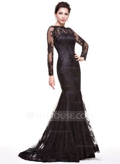 Trumpet Mermaid Off-the-Shoulder Sweep Train Zipper Up Sleeves Long Sleeves  No Black Winter Spring Fall General Plus Lace Evening Dress c12c1d408