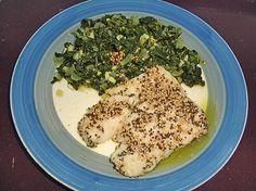 krümeltigers knusprig panierter Fisch mit Blattspinat