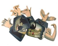 Hand-shadows-card-set From a 19th century design, six cards that show you how to make animal-shaped shadows.