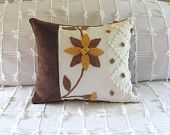 Brown gold CHOCOLATE BLOOM chenille pillow cover cushion with custom insert fall autumn by morechenillechateau