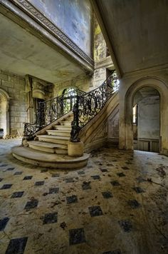 abandoned old mansions california | Old Staircase in an Abandoned House in France - Photorator
