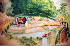 Original concept for canal boats patchwork garden in disneyland