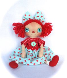 SALE Primitive Raggedy Ann Doll Aqua And Red by cottoncandydolls