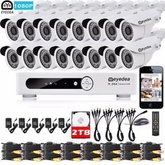 699.99$  Buy now - http://ali2ai.shopchina.info/1/go.php?t=32811288872 - Eyedea 16 CH Phone View DVR 1080P 5500TVL CMOS Outdoor LED Night Vision CCTV Security Camera Video Surveillance System 2TB Kit 699.99$ #magazineonlinewebsite