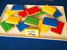Decorated cookies at a Lego birthday party! See more party planning ideas at CatchMyParty.com!