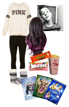 """Watching Disney movies w/ Matt!"" by cookieswirl88 ❤ liked on Polyvore featuring Dorothy Perkins, Victoria's Secret PINK, M&F Western, Disney and River Island"