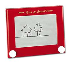 Etch A Sketch. I was both fascinated and frustrated by this toy. I could never get it to draw anything but odd looking squiggles. Then it stopped shaking clean, and eventually the knobs stopped working. Still, it was a very clever little toy and kept me amused for hours on end, despite my lack of artistic abilities!