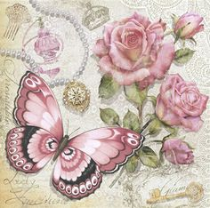 Ideas For Vintage Paper Butterflies Roses Decoupage Vintage, Vintage Diy, Vintage Labels, Vintage Cards, Vintage Paper, Vintage Flowers, Vintage Images, Printable Vintage, Butterfly Images