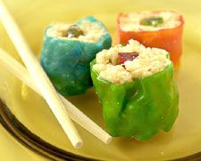 Japan - mock sushi using fruit roll ups, rice krispy treats, and gummies!