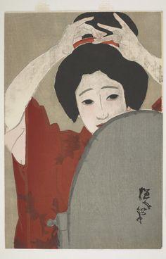 Woman Before Mirror  Type     Woodblock print  Maker(s)     Artist: Kitano Tsunetomi (1880 - 1947)  Historical period(s)     Taisho era, 1919