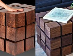 Floating Magnetic Cubes Table The floating magnetic table is a piece of high end kinetic furniture which is made up of 54 magnetiized wooden blocks that ar Cheap Furniture, Unique Furniture, Discount Furniture, Bedroom Furniture, Industrial Furniture, Industrial Design, Furniture Ideas, Cube Table, Unique Gifts For Men