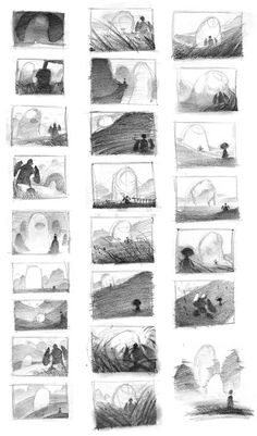 Layout sketches for Kojo Monster Puncher by Nicholas Kole.