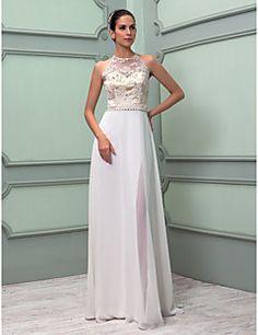 Lan Ting Sheath/Column Plus Sizes Wedding Dress - Ivory Floo... – USD $ 179.99