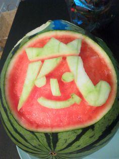 Watermelon carving. Arashi logo. 嵐ロゴ。友人の作品。