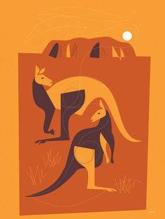 Wild Things of Oz 'Kangaroo' by Eleanor Grosch Graphic Art on Wrapped Canvas Kangaroo Illustration, Illustration Art, Painting Prints, Wall Art Prints, Canvas Prints, Ayers Rock, Aboriginal Art, Aboriginal Tattoo, Wildlife Art