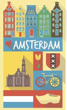 City poster cartel de ciudad vintage Amsterdam por Chachaprints