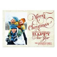 Christmas Photo Flat Card - Red & White  | Visit the Zazzle Site for More: http://www.zazzle.com/?rf=238228028496470081 [Referral Link]