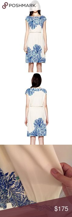 "Blue + Ivory Floral Justina Dress In soft, floral-print jersey, the Tory Burch Justina dress is a slip on-and-go staple. Boat neckline. Cap sleeves. Shirred waistband creates blouson top. A-line skirt falls above the knee. Length {38"".} Bust {36"".} Rayon. Slight and super-faint spot on bottom right {see my pointing to it in photo three.} that is extremely minute and most probably removed with dry-cleaning. Otherwise, excellent pre-loved condition. Tory Burch Dresses"