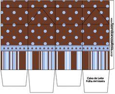 Caixa de Leite Fundo Marrom e Azul: