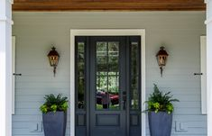 Front Door Paint Colors - Want a quick makeover? Paint your front door a different color. Here a pretty front door color ideas to improve your home's curb appeal and add more style! Front Door Paint Colors, Painted Front Doors, Front Door Decor, Planters By Front Door, Glass Front Door, The Doors, Entrance Doors, House Entrance, Barn Doors