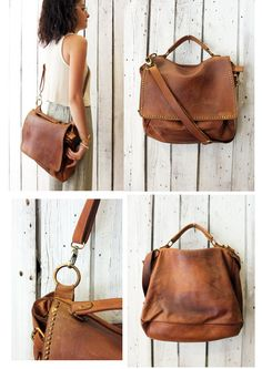 "Handmade Italian Vintage Brown Leather Bag ""TOBACCO BAG 4"" di LaSellerieLimited…"