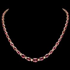 14k 29.00ct Tourmaline 1.25ct Diamond Necklace : Lot 96C
