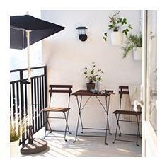 TÄRNÖ Ulkokalustesetti (pöytä/2 tuolia), akasia musta, teräs harmaanruskeaksi petsattu - IKEA