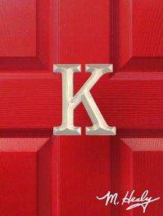 Monogram Door Knocker --  Michael Healy - Artistic Decorative Hardware :: Monogram Letter K-Nickel It's my door!
