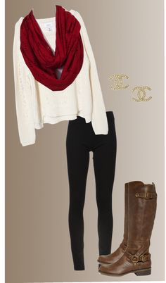 """Oversised Sweater, Red Infinity Scarf, Leggings, Riding Boots, Chanel Earrings"""