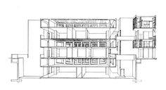 Salk Institute for Biological Studies, La Jolla, California. Section perspective of laboratory, Louis I. Kahn