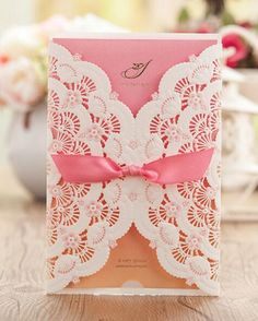 Wedding Invitations Pink Paper Blank Card Laser Cutting Pink Ribbon Wedding Invitation Flowers Hollow Wedding Cards Iv01 Make Invitations Online Party Invitations From Weddingmall, $0.95| Dhgate.Com