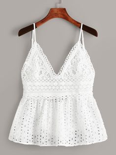 Check out this Eyelet Embroidery Knot Back Cami Top on Shein and explore more to meet your fashion needs! Cami Tops, Fashion Today, Everyday Fashion, Diy Clothes, Clothes For Women, Seductive Women, Mode Boho, Clothing Hacks, Shorts