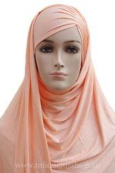 Jersey Hijab Asymmetrical Pleat-Coral