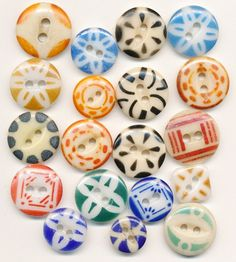 Colourful Vintage China Stencil Buttons