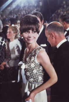 Audrey Hepburn arrives at the 1967 Academy Awards