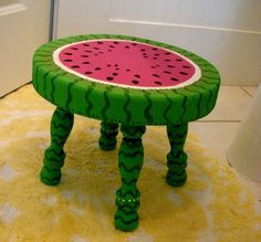 Solid Wood Hand-Painted Baby Step Stool by alteriormotifs on Etsy Hand Painted Chairs, Painted Stools, Hand Painted Furniture, Repurposed Furniture, Wood Furniture, Watermelon Crafts, Watermelon Patch, Unusual Furniture, Wood Stool