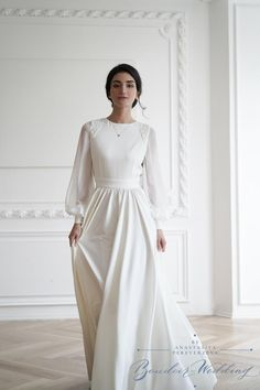 Minimal Wedding Dress, Simple Elegant Wedding Dress, Plain Wedding Dress, Minimalist Wedding Dresses, Wedding Dress Sleeves, Hijabi Wedding, Muslim Wedding Dresses, Event Dresses, Chiffon Dress Long