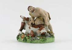 A pearlware figure of Hercules and the Cretan Bull - Lot 382 - English and European Ceramics and Glass