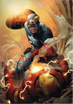 Iron Man Pictures To Print | ... _Marvel_Comic_Art_Print_Iron_Man_vs_Captain_America_vs_IRON_MAN.JPG